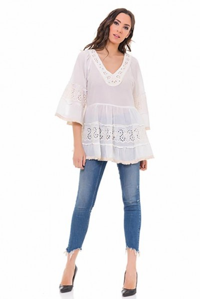 Batista top with V neck and 3/4 sleeves Beige