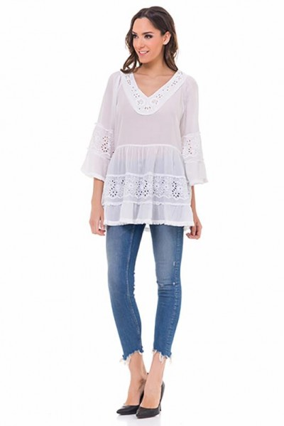 Batista top with V neck and 3/4 sleeves White