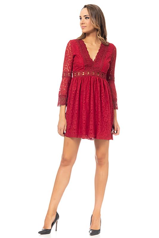 Lace Dress With V Neck And 34 Wide Sleeve Burgandy